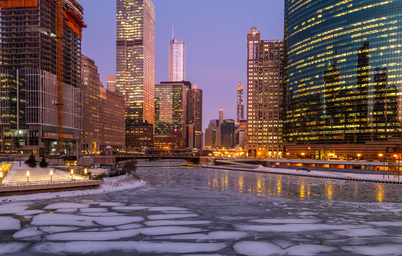 Photo wallpaper winter, lights, river, ice, skyscrapers, the evening, Chicago, USA, USA, Chicago