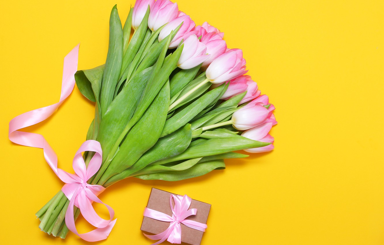 Photo wallpaper yellow, background, bouquet, tape, tulips