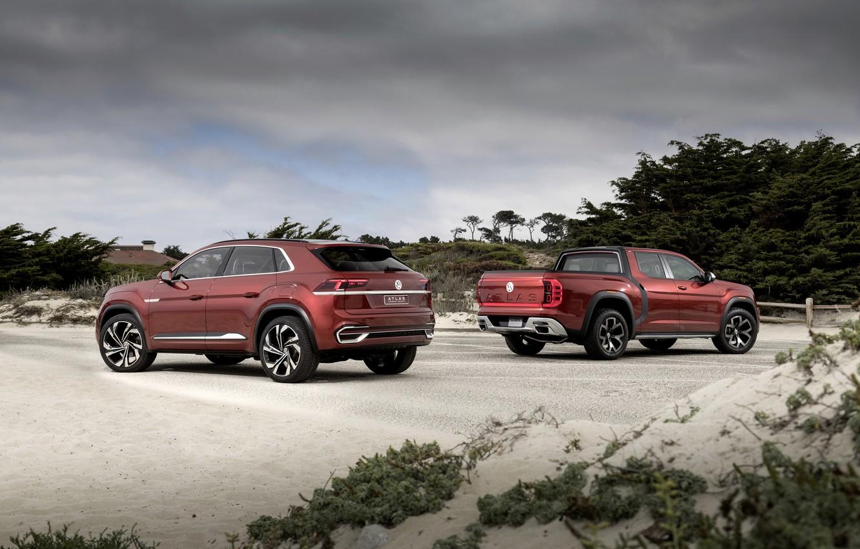 Photo wallpaper Volkswagen, pickup, 2018, SUV, Atlas Tanoak Concept, Atlas Cross Sport