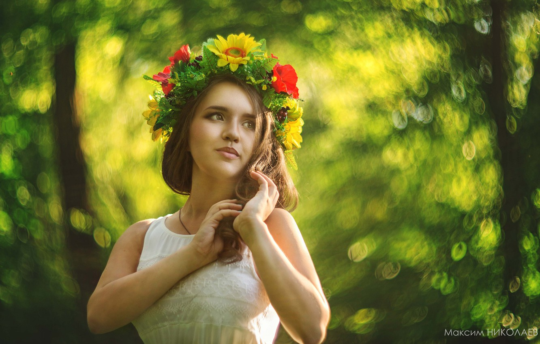 Wallpaper Look Girl Flowers Pose Wreath Maxim Nikolaev Images Images, Photos, Reviews