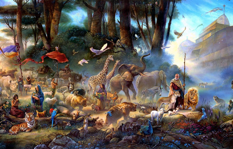 Photo wallpaper animals, women, trees, flowers, birds, fog, stones, animals, people, figure, graphics, people, ship, picture, bears, …