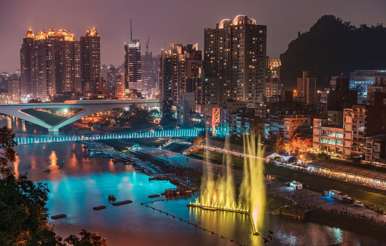 Photo wallpaper night, bridge, lights, river, building, home, Taiwan, fountains, New Taipei