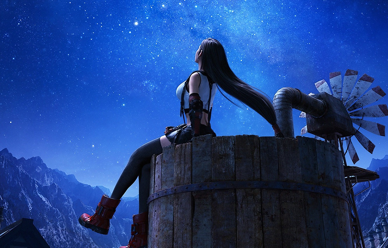 Photo wallpaper girl, night, Final Fantasy, look to the sky, starry sky, Tifa Lockhart, Final Fantasy VII …