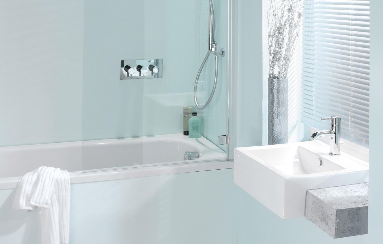 Photo wallpaper room, blue, towel, crane, window, bath, light