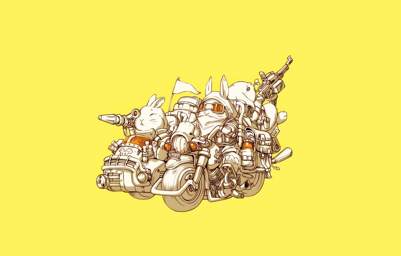 Photo wallpaper Art, Guns, Bike, Weapon, Minimalism, Characters, Motorcycle, Bunny, Rabbits, Ren Wei Pan, Bunnys, Weapon Blood …