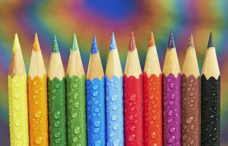 Photo wallpaper drops, pencils, drops, pencils, Tom Pavlasek