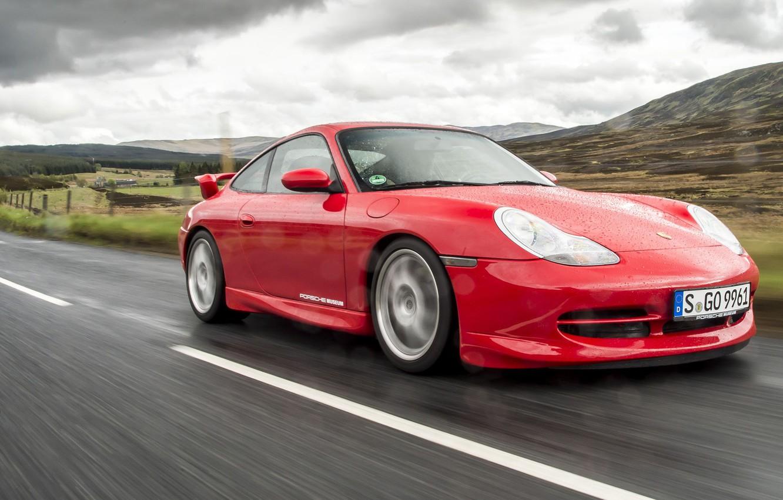 Photo wallpaper Red, Rain, Moisture, Sports car, Porsche 996 GT3, German Car