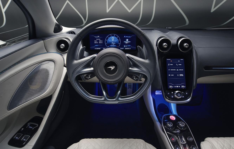 Photo wallpaper McLaren, supercar, salon, MSO, 2019, McLaren GT, Defined Flux Silver