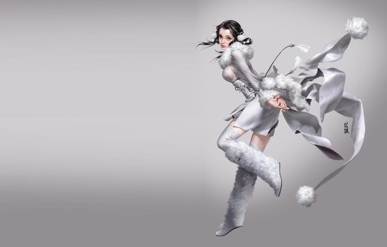 Photo wallpaper anime, art, costume, snow, mingzhu yang