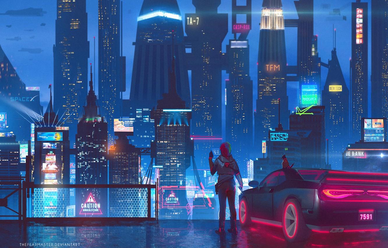 Photo wallpaper Auto, Night, The city, Future, Neon, Machine, Skyscrapers, Building, City, Architecture, Art, Art, Auto, Night, …
