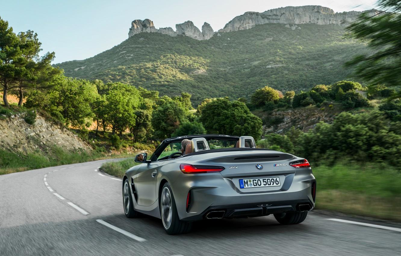 Photo wallpaper mountains, grey, rocks, vegetation, turn, BMW, Roadster, BMW Z4, M40i, Z4, 2019, G29