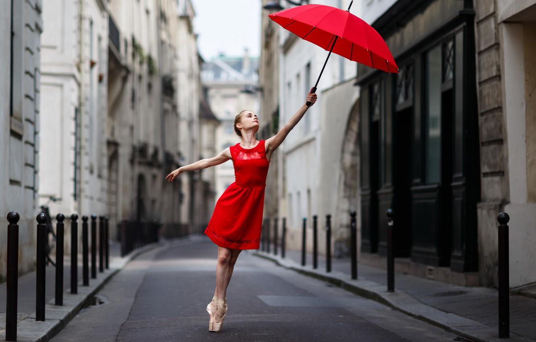 Photo wallpaper girl, street, umbrella, in red
