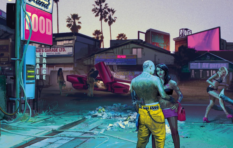 Photo wallpaper The city, The game, Neon, Street, People, Art, CD Projekt RED, Cyberpunk 2077, Cyberpunk, Cyberpunk, …