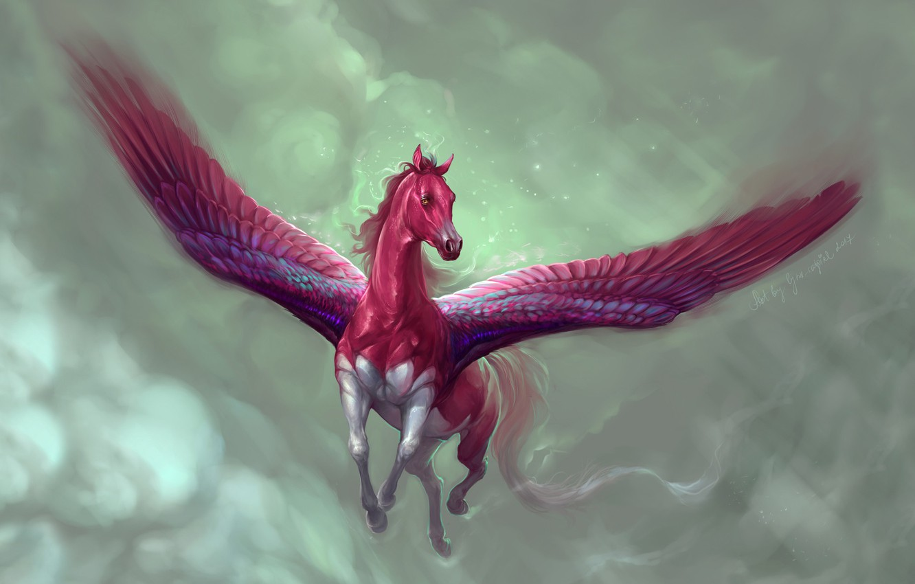 Photo wallpaper The sky, Clouds, Horse, Figure, Flight, Wings, Fantasy, Art, Fiction, Concept Art, Pegasus, Pegasus, Marianna ...