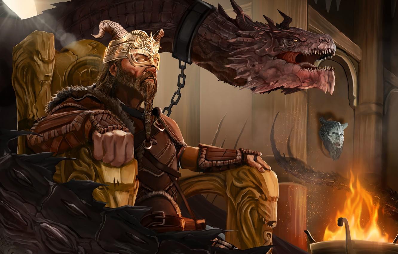 Photo wallpaper Dragon, King, The throne, King