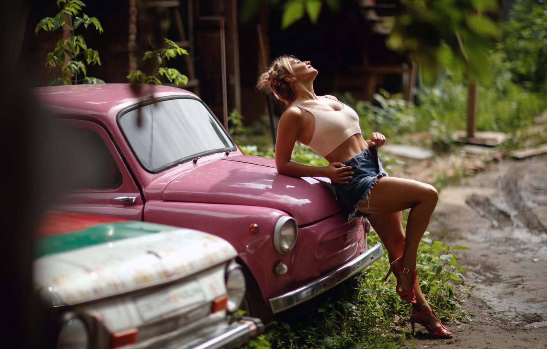 Photo wallpaper auto, girl, machine, pose, legs, Zaporozhets, ZAZ, Sergey Sorokin