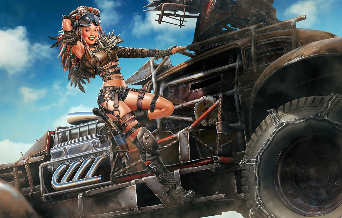 Wallpaper Machine Look Girl Pose Smile The Game Art Crossout