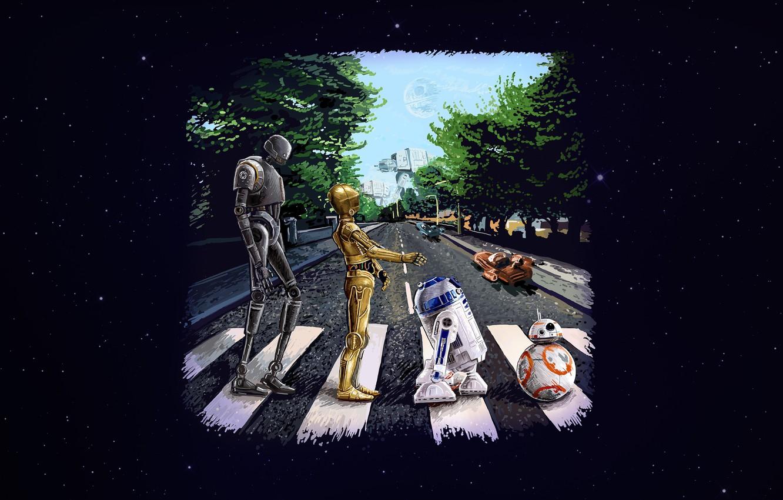 Photo wallpaper Star Wars, Art, Star Wars, r2d2, Beatles, Droid,
