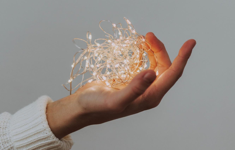 Photo wallpaper light, hand, garland, light bulb