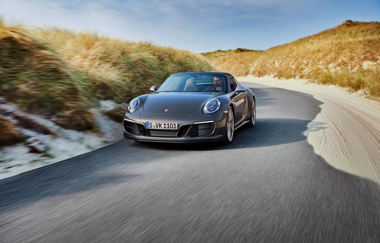 Photo wallpaper road, Porsche, 4x4, Biturbo, Targa, special model, 911 Targa 4 GTS, Exclusive Manufaktur Edition