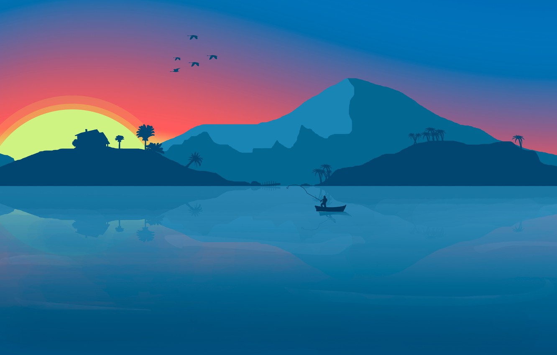 Photo wallpaper Sunset, Minimalism, Mountains, Lake, River, Boat, House, Birds, Dawn, House, Background, Fishing, Fisherman