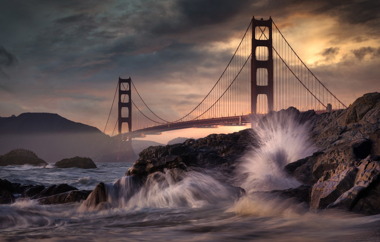 Photo wallpaper sea, bridge, stones, rocks, CA, San Francisco, Golden Gate Bridge, California, San Francisco, The Golden …