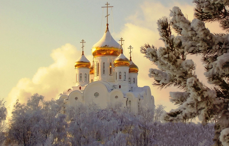 Photo wallpaper snow, Winter, Temple