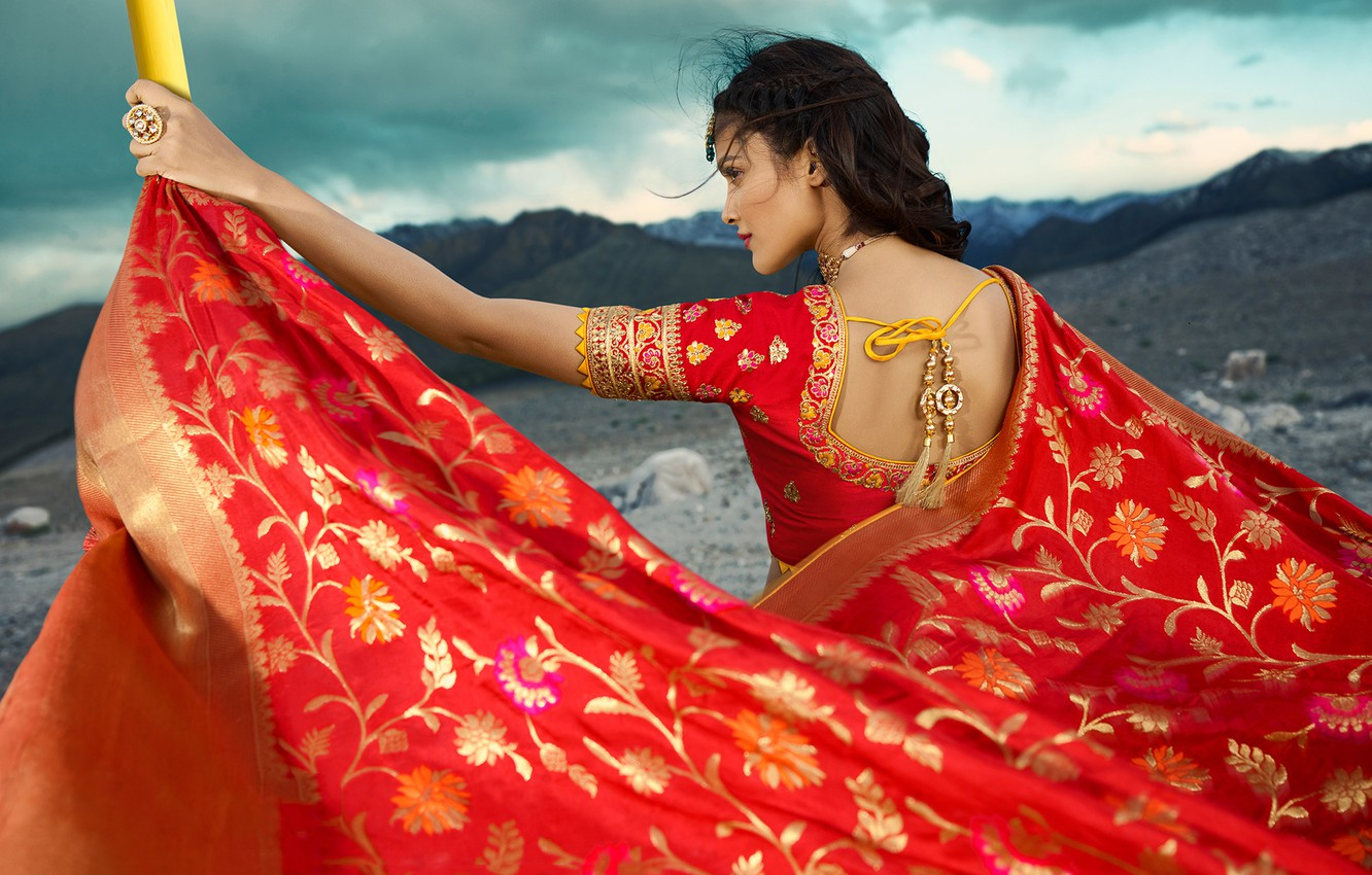 Photo wallpaper girl, fashion, model, beauty, pose, indian, actress, celebrity, bollywood, makeup, back view, saree, traditional clothes, …