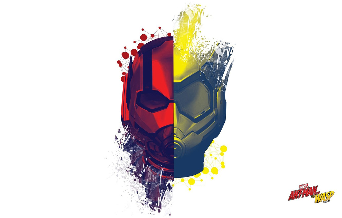 Photo wallpaper abstraction, fiction, minimalism, white background, mask, poster, MARVEL, Ant-Man and the Wasp, Ant-man and Wasp