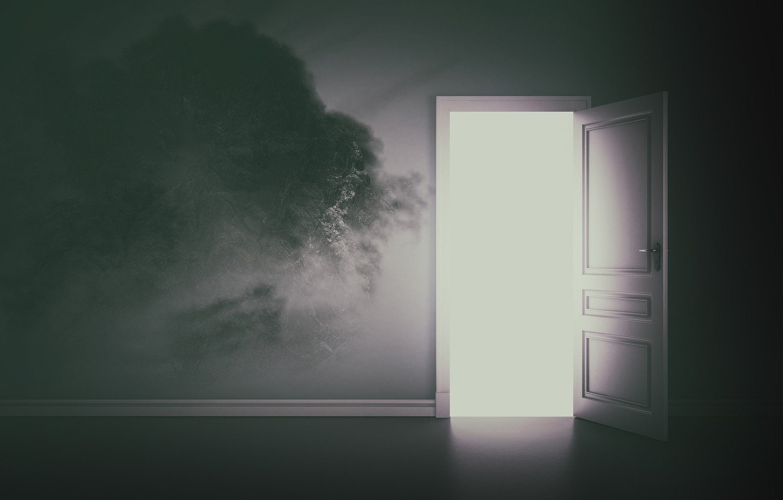 Photo wallpaper light, the door, output