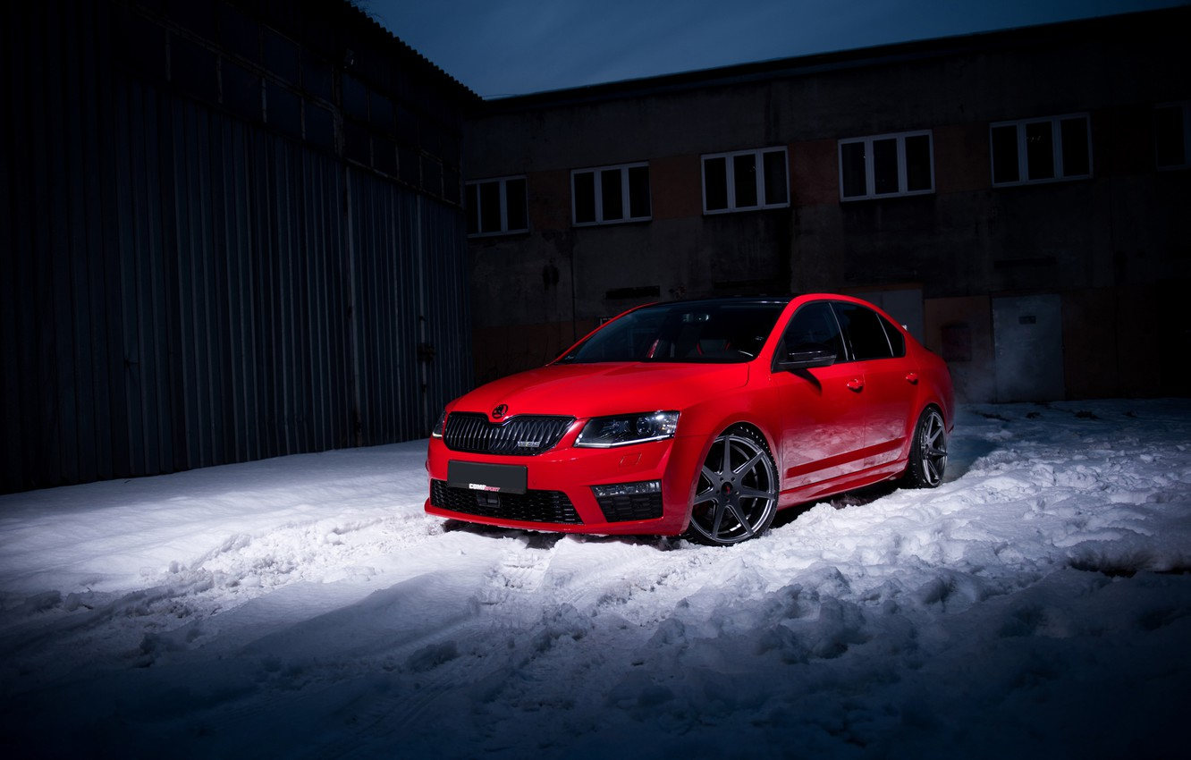 Photo wallpaper Red, Skoda, Octavia
