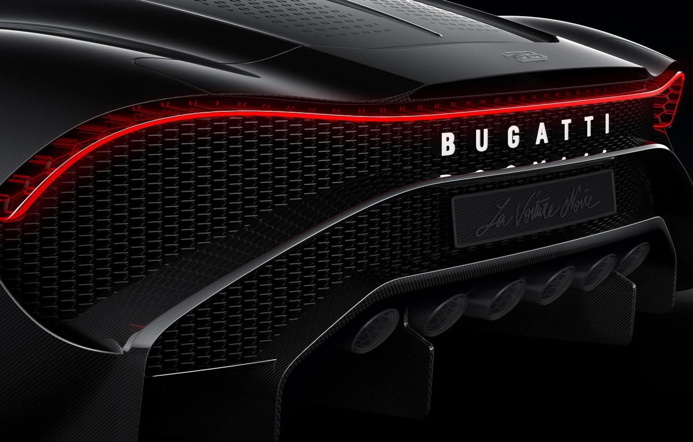 Photo wallpaper Bugatti, rear view, hypercar, 2019, The Black Car