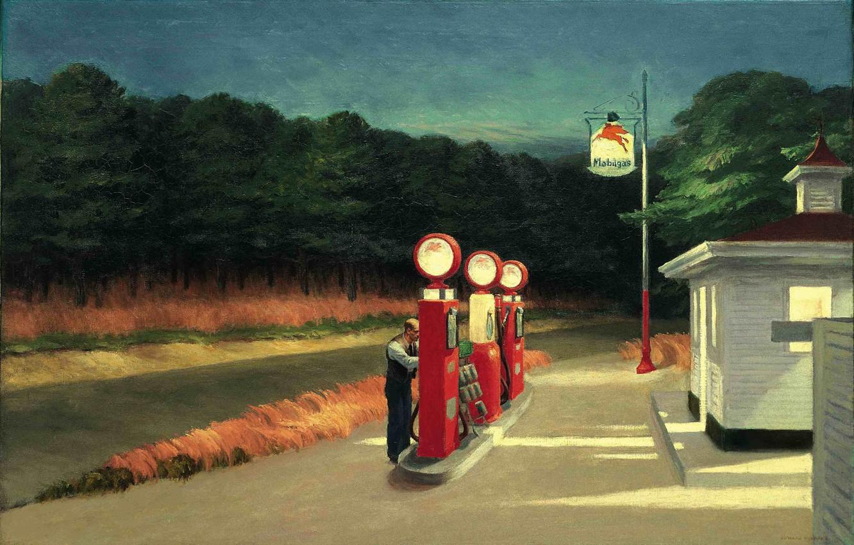 Photo wallpaper 1940, Gas, Edward Hopper