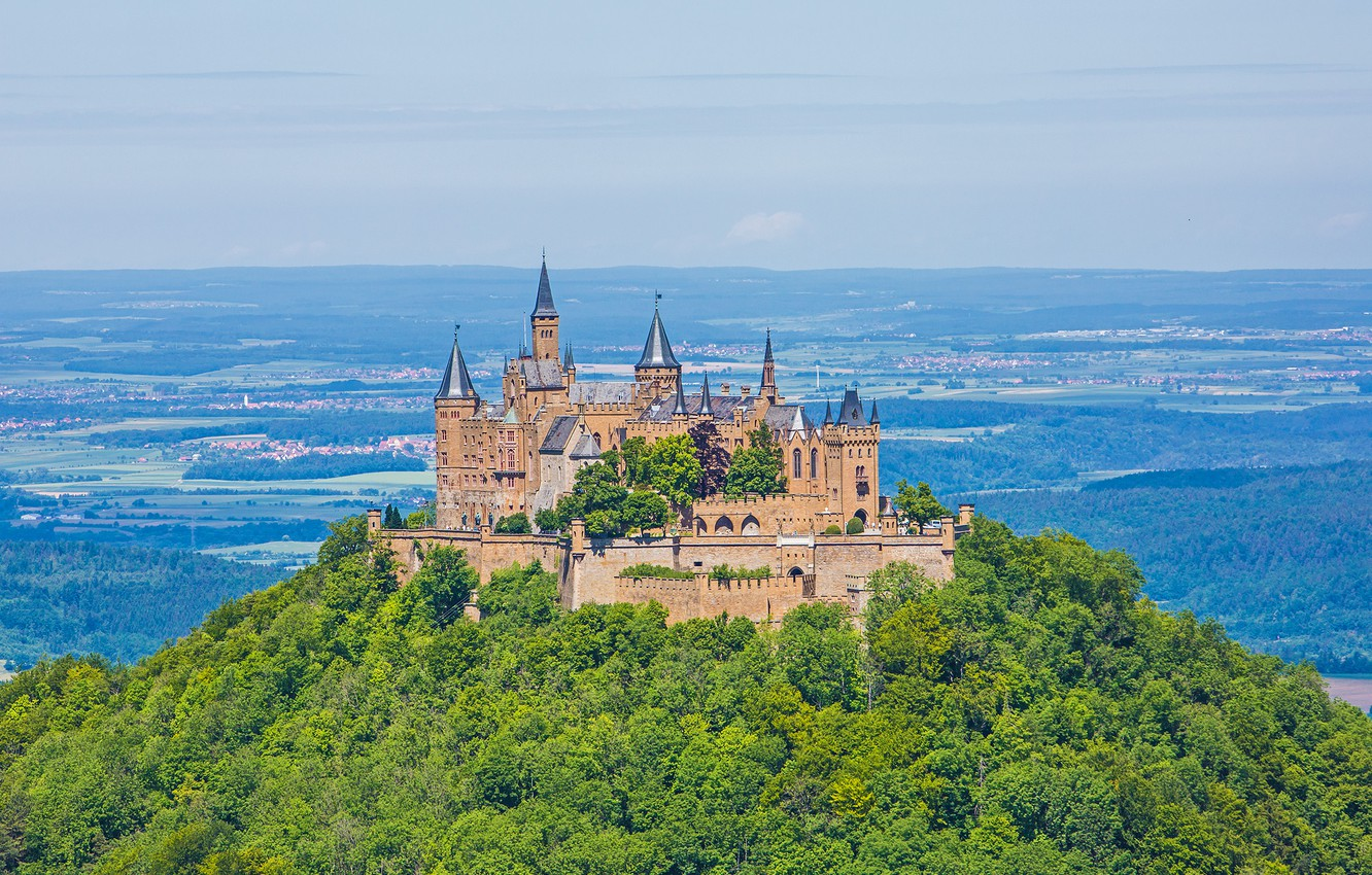 Photo wallpaper forest, castle, Germany, hill, Hohenzollern, Hohenzollern Castle