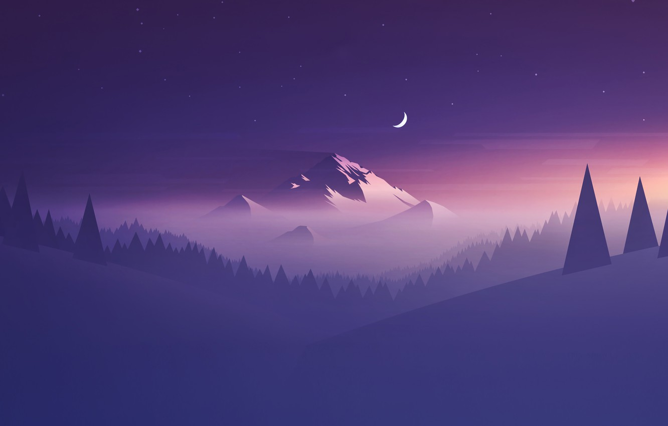 Photo wallpaper Minimalism, Mountains, Fog, Stars, Mountain, Forest, Landscape, Tree, A month