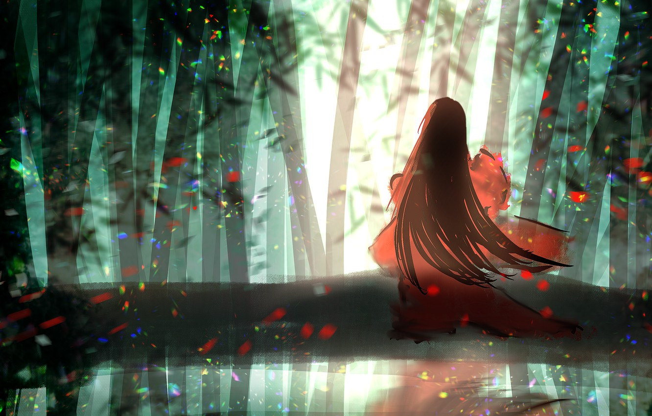 Photo wallpaper forest, girl, traditional clothing