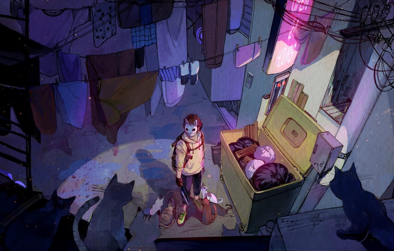 Photo wallpaper cats, mask, guy