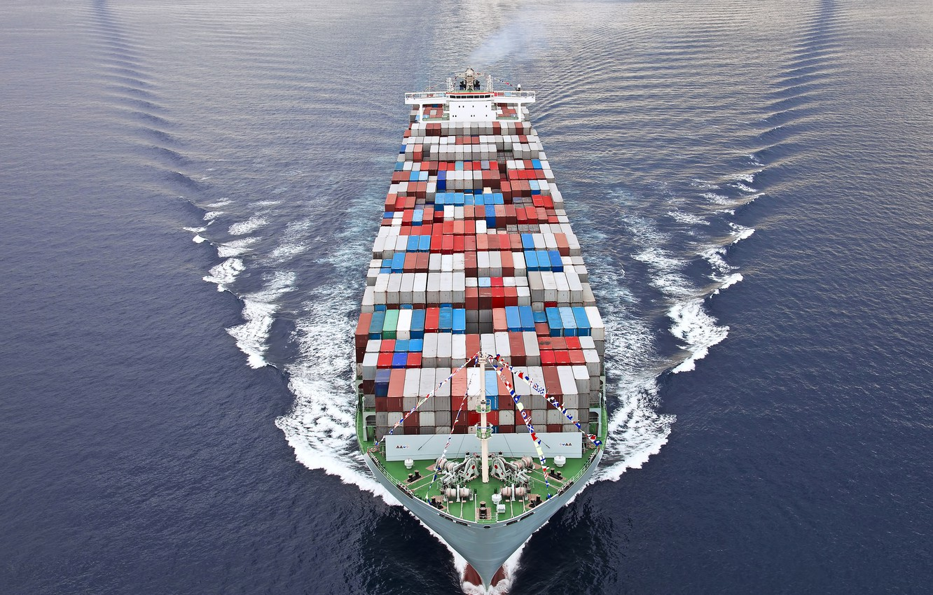 Photo wallpaper trade, containers, commercial vessel