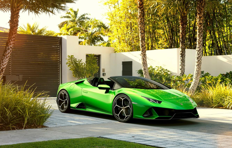 Photo wallpaper machine, palm trees, Lamborghini, sports car, Spyder, Evo, Huracan