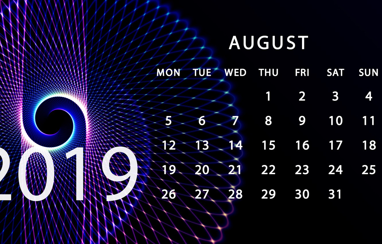 Photo wallpaper August, calendar, 2019