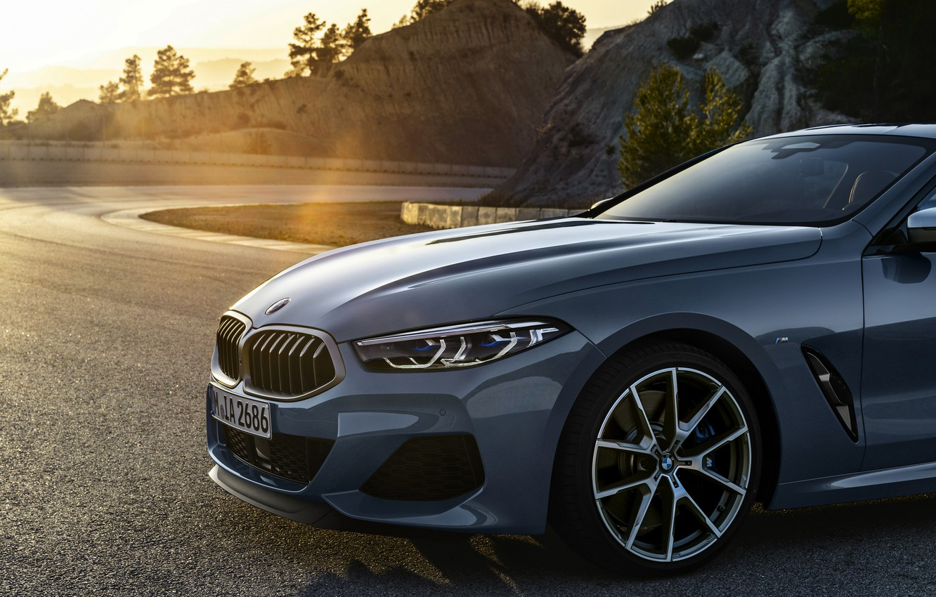 Photo wallpaper rays, light, coupe, BMW, Coupe, 2018, the front part, gray-blue, 8-Series, pale blue, M850i xDrive, …