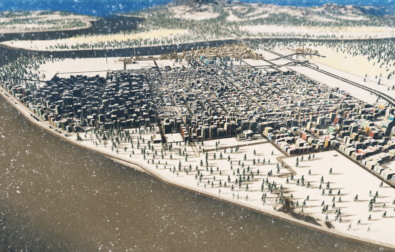 Photo wallpaper snow, the city, industry, cities skylines