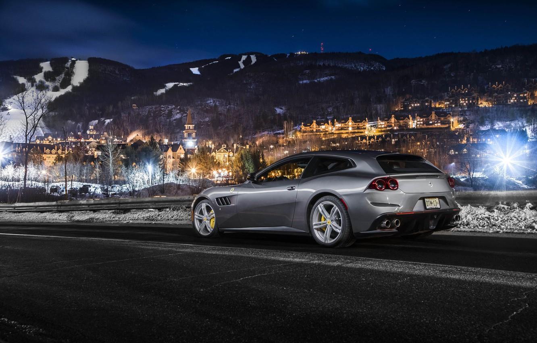 Photo wallpaper Night, Ferrari FF, Silver, Sportcar