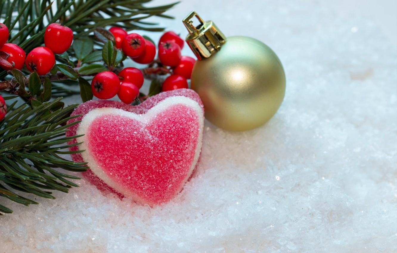 Photo wallpaper winter, snow, berries, heart, new year, ball, Christmas, berry, christmas, heart, winter, snow, sweet, sweet, …