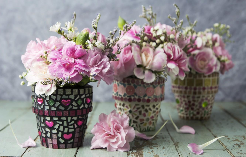 Photo wallpaper flowers, petals, pink, vintage, pink, flowers, beautiful, romantic