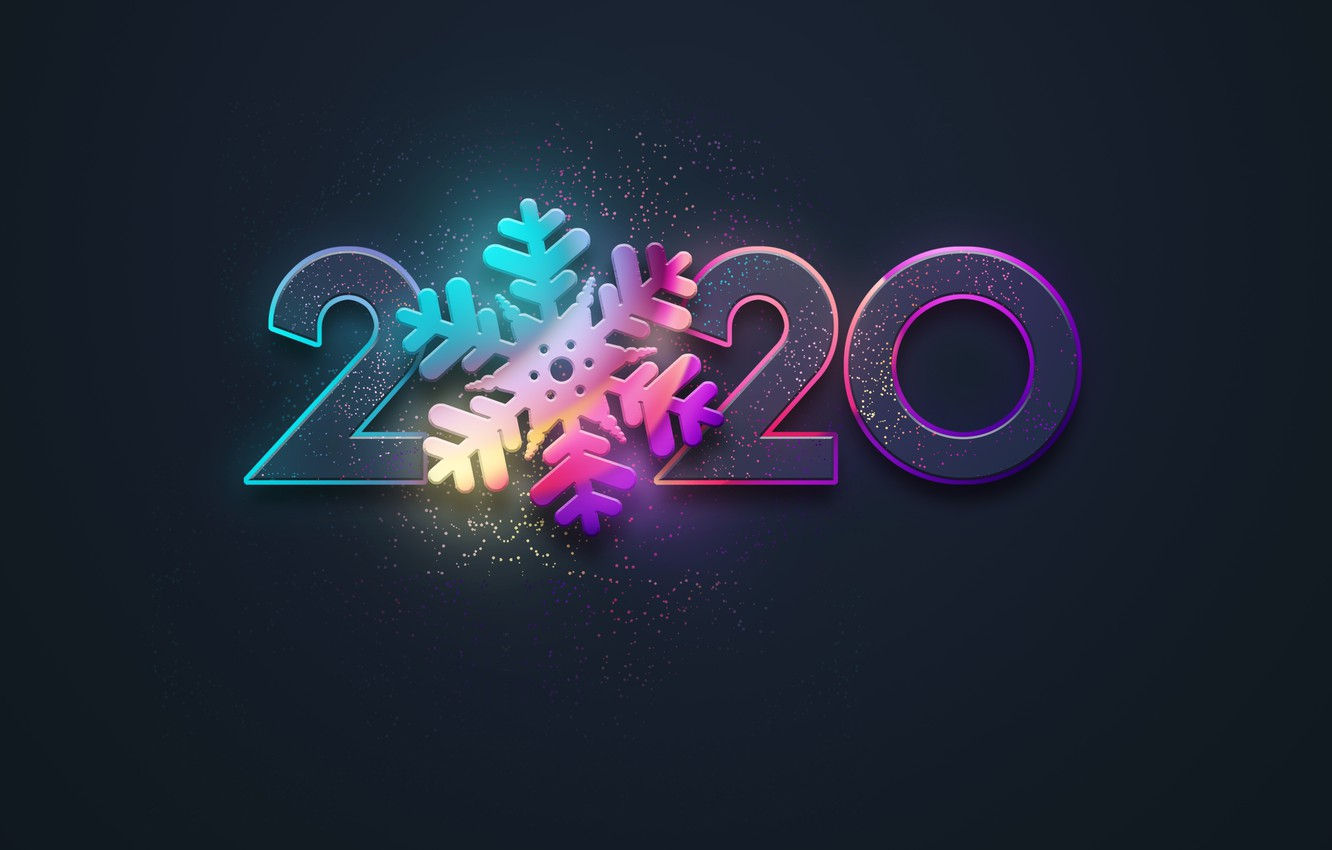Photo wallpaper new year, colors, neon, black background, new year, happy, neon, 2020