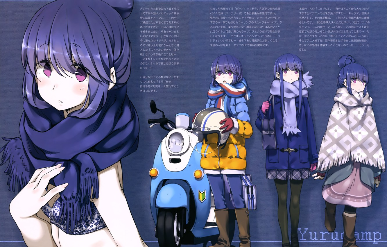 Photo wallpaper boots, scarf, moped, jacket, bag, blue background, blue hair, bangs, poncho, dressing up, Go camp, …