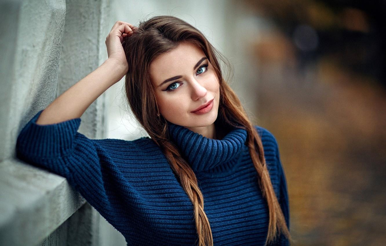 Photo wallpaper look, pose, smile, model, portrait, makeup, hairstyle, braids, brown hair, beauty, sweater, bokeh, Daria Kodaneva, …