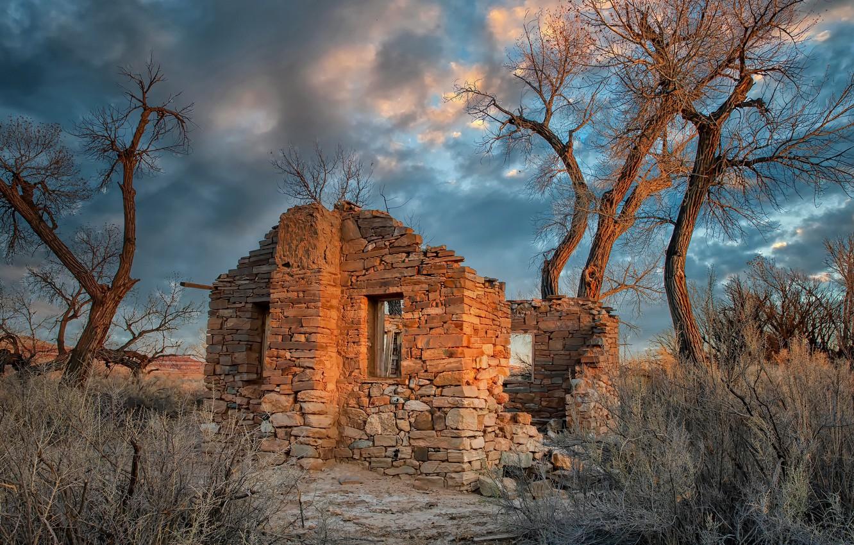 Photo wallpaper United States, Utah, abandoned house, Cottonwood Trees, Hanksville