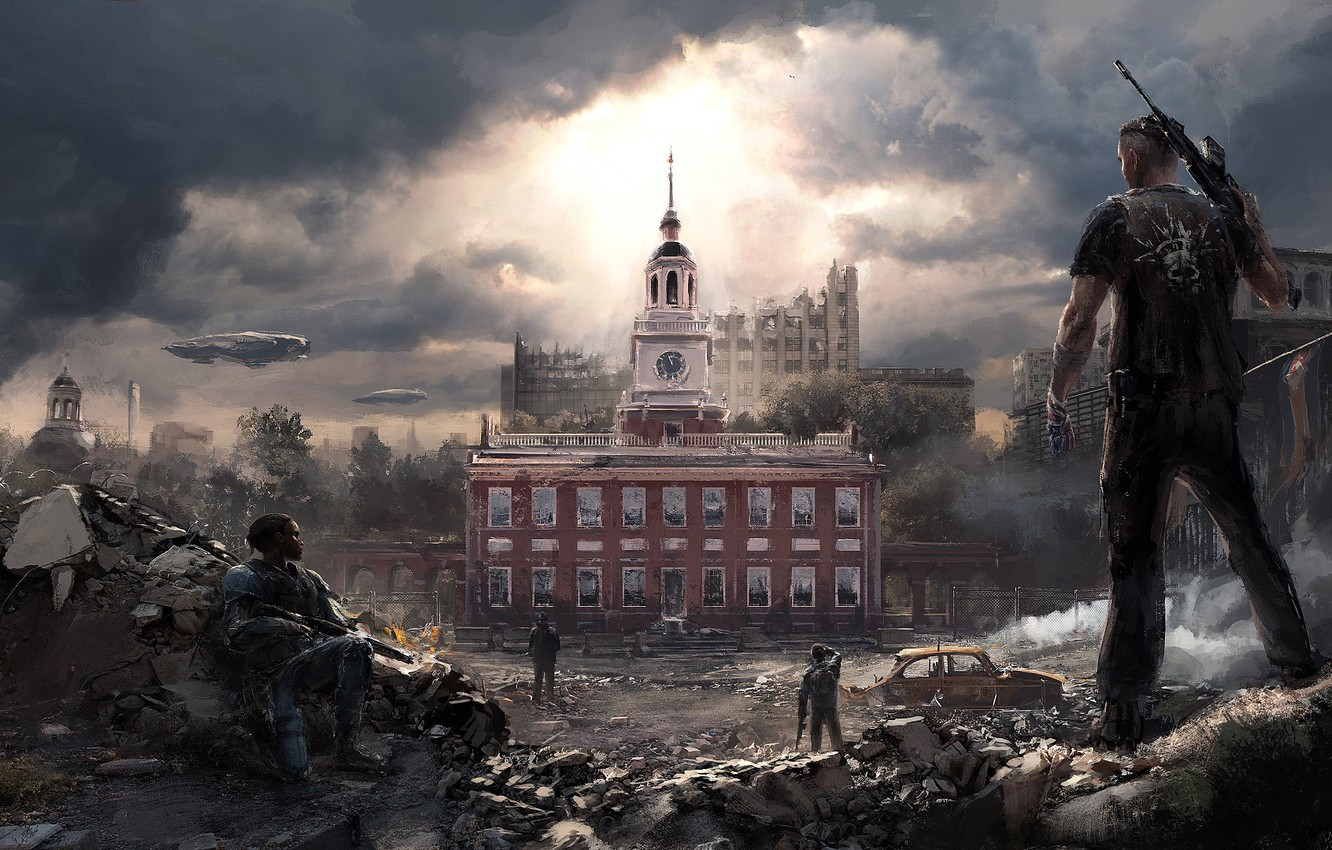 Photo wallpaper the city, weapons, guy, Homefront The Revolution